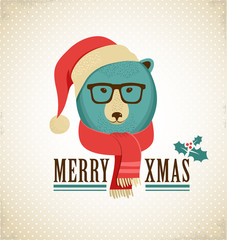 Christmas background with hipster bear