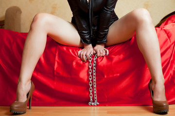 girl on the couch and chain