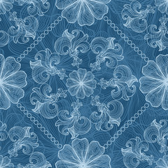 Openwork white and blue seamless pattern