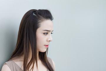 female looking at blank space, tiring mood
