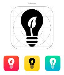 Eco light bulb icon. Vector illustration.