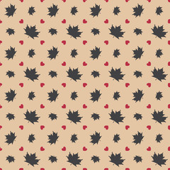Autumn seamless pattern with maple leaves and heart.
