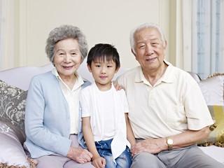portrait of asian grandparents and grandson