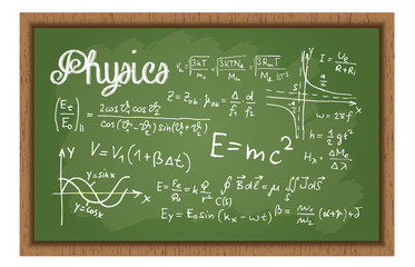 School Black Board With Physics Formulas