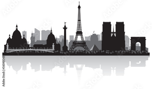 Fototapete Paris France city skyline silhouette