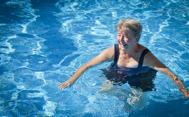 Senior Woman Swimming in the Pool