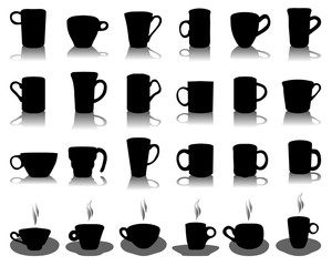 Silhouettes of cup. vector Illustration