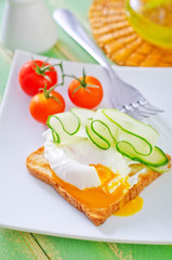 toast with poached eggs
