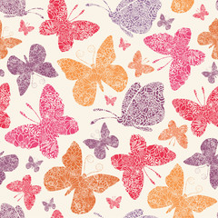 Vector floral butterflies seamless pattern background with hand