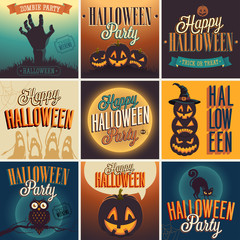 Wall Mural - Halloween Posters set. Vector illustration.