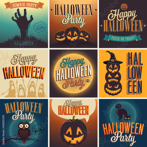 Wall mural Halloween Posters set. Vector illustration.