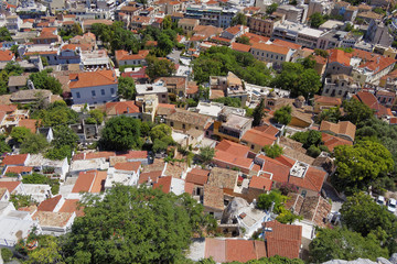 Plaka, Athens old city center, aerial view