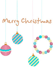 Christmas retro ornaments in white background