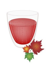 Strawberry Juice in Glass with Colorful Maple Leaves