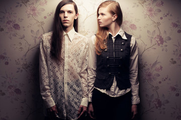 Portrait of beautiful long haired people in vintage style