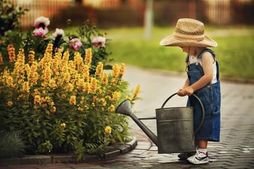 cute little boy watering flowers watering can