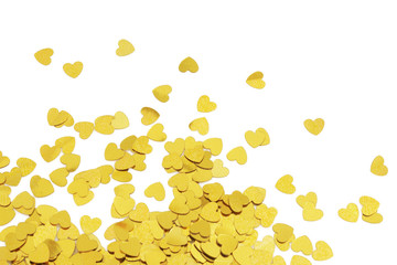 Cute gold confetti hearts with copy space