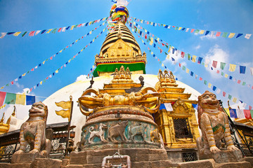 Photo sur Toile Népal Stupa in Swayambhunath Monkey temple , Kathmandu, Nepal.