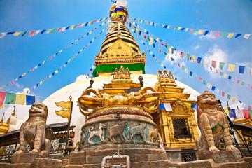 Fotorolgordijn Nepal Stupa in Swayambhunath Monkey temple , Kathmandu, Nepal.