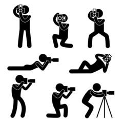 Set Piktogramm Fotograf Silhouette Vektor