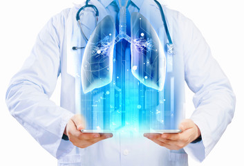 Doctor holding tablet pc