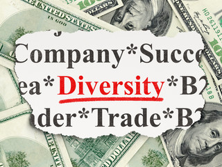 Business concept: Diversity on Money background