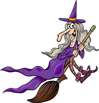 witch on broom cartoon illustration