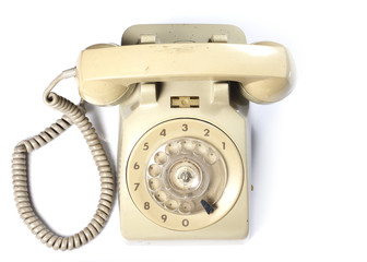 Old Telephone on White background from top view