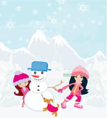 Kid making happy  snowman