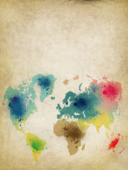 world map with colorful paint stains on old paper