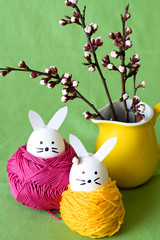 Decorative Easter bunny and cherry blossoms