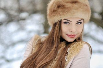 Beautiful girl in winter - close up