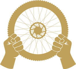 Vector illustration of a bike wheel used as car steering wheel