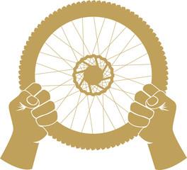 Vector illustration of a bike wheel used as car steering wheel