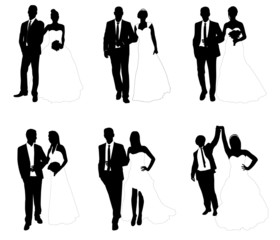 wedding couples - vector