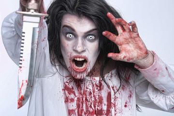 Image of a Bleeding Psychotic Woman