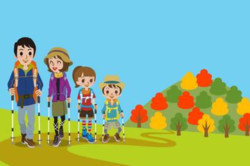 Family walking  Mountain road in fall
