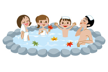 Japanese Open-air bath, family and fall leaves