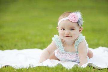 Japanese American Toddler Girl Smiling