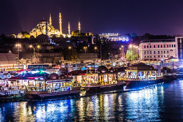 Night view on the restaurants at the end of the Galata bridge, S