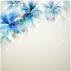 Printed roller blinds Floral woman Tender background with blue abstract flowers in the corner