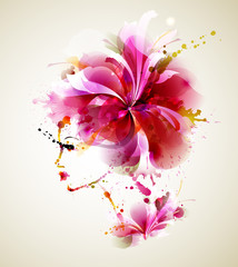 Fotobehang Bloemen vrouw Beautiful fashion women with abstract hair and design elements