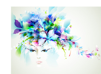 Zelfklevend Fotobehang Bloemen vrouw Beautiful fashion women face with abstract design elements