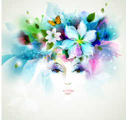 Fotobehang Bloemen vrouw Beautiful fashion women face