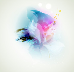 Fotobehang - Beautiful fashion woman eye with design elements