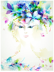 Aluminium Prints Floral woman Beautiful fashion women with summer design elements