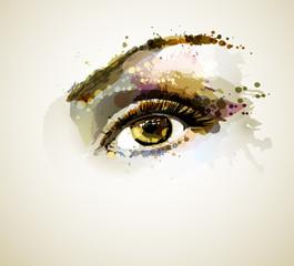 Fotobehang - Beautiful eye forming by blots