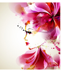 Zelfklevend Fotobehang Bloemen vrouw Beautiful fashion women with abstract hair and design elements