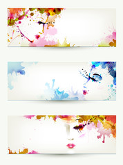 Beautiful abstract women faces on three headers