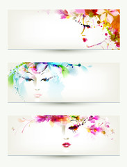Wall Murals Floral woman Beautiful women faces on three headers
